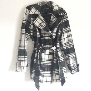 Jou Jou White and Gray Plaid Pea Coat sz L